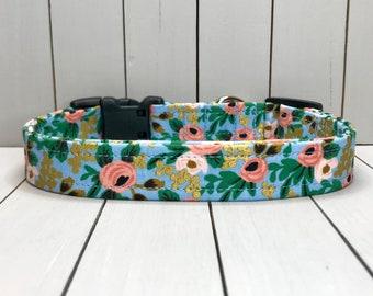 "3/4"" Medium Dog Collar, Handmade, Fabric Covered Nylon Webbing, Ready to Ship ~ Rifle Paper Co Rosa Chambray Metallic Gold"