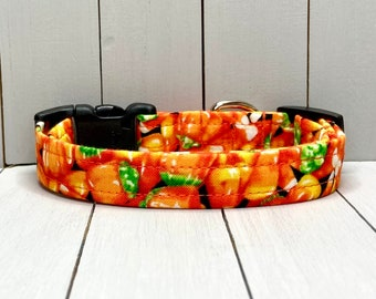 "5/8"" Small Halloween Dog Collar, Handmade, Fabric Covered Nylon Webbing, Ready to Ship ~ Orange Candy Corn"