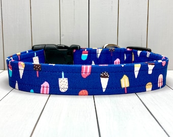 """1"""" Large Dog Collar, Handmade, Fabric Covered Nylon Webbing, Ready to Ship ~ Navy Pupsicles"""