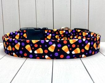 "1"" Large Halloween Dog Collar, Handmade, Fabric Covered Nylon Webbing, Ready to Ship ~ Black Candy Corn"