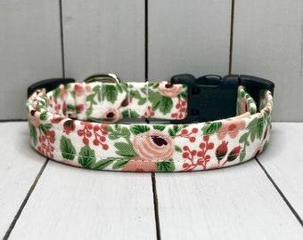 "5/8"" Small Dog Collar, Handmade, Fabric Covered Nylon Webbing, Ready to Ship ~ Rifle Paper Co Rosa Rose"
