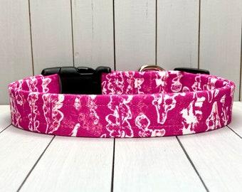 """1"""" Large Dog Collar, Handmade, Fabric Covered Nylon Webbing, Ready to Ship ~ Fuchsia Botanical"""