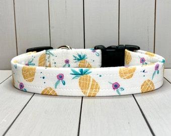 "3/4"" Medium Dog Collar, Handmade, Fabric Covered Nylon Webbing, Ready to Ship ~ Pineapples"