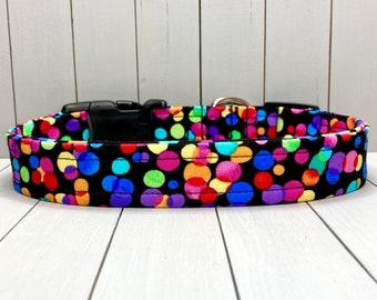 "1"" Large Fall Dog Collar, Handmade, Fabric Covered Nylon Webbing, Ready to Ship ~ Black Celebration Dots"