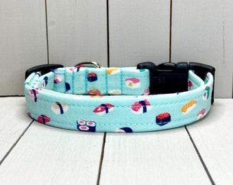 "5/8"" Small Dog Collar, Handmade, Fabric Covered Nylon Webbing, Ready to Ship ~ Sushi"