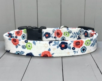 "3/4"" Medium Fabric Covered Nylon Webbing Handmade Dog Collar ~ Americana Hummingbird Floral"
