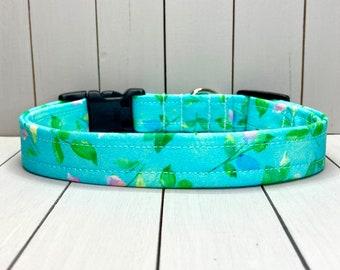 "3/4"" Medium Dog Collar, Handmade, Fabric Covered Nylon Webbing, Ready to Ship ~ Teal Vines"