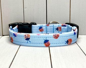 "5/8"" Small Dog Collar, Handmade, Fabric Covered Nylon Webbing, Ready to Ship ~ Periwinkle Ladybugs"