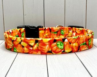 "3/4"" Medium Halloween Dog Collar, Handmade, Fabric Covered Nylon Webbing, Ready to Ship ~ Orange Candy Corn"