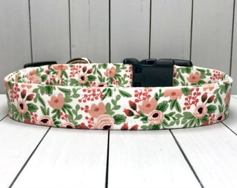 """1"""" Large Dog Collar, Handmade, Fabric Covered Nylon Webbing, Ready to Ship ~ Rifle Paper Co Rosa Rose"""