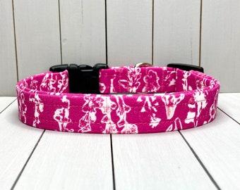 "3/4"" Medium Dog Collar, Handmade, Fabric Covered Nylon Webbing, Ready to Ship ~ Fuchsia Botanical"