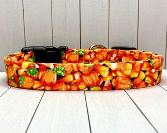 "1"" Large Halloween Dog Collar, Handmade, Fabric Covered Nylon Webbing, Ready to Ship ~ Orange Candy Corn"