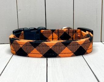 "5/8"" Small Halloween Dog Collar, Handmade, Fabric Covered Nylon Webbing, Ready to Ship ~ Halloween Buffalo Plaid"