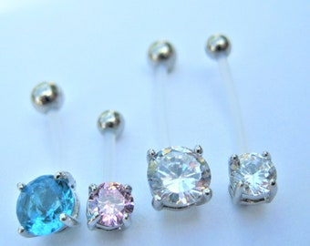 Clear Crystal Bioflex Belly Bar, 6mm,8mm,10mm,12mm,14mm,16mm,20mm,25mm (larger sizes available)
