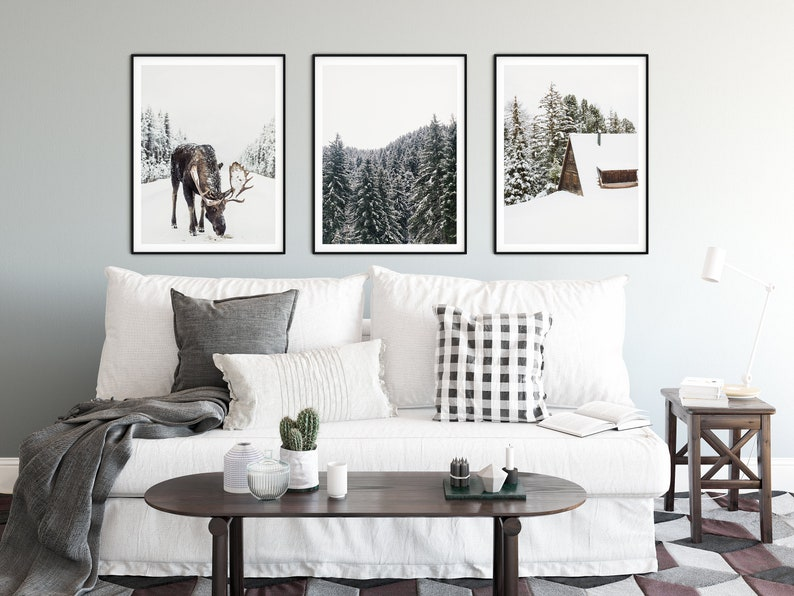 Set of 3 Prints  Winter Theme Winter Decor Pine Tree Print Reindeer Print Log Cabin Print Snowy Print Decor Scandinavian Nordic