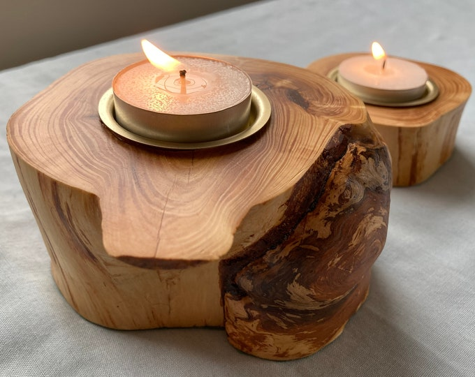 Little and Large Pine Tea light Holders With Brass Inserts