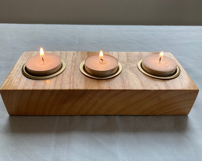 Salvaged Ash Tea light Candle Holder With Brass Inserts.