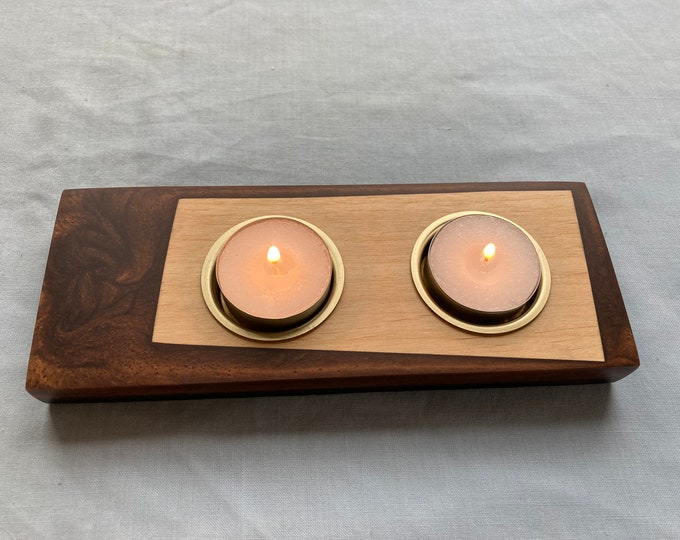 Larch Wood and Antique Bronze Resin Tea Light Holder