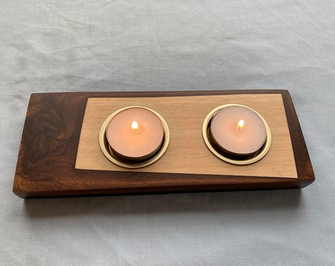 Larch Wood and Antique Bronze Resin Tea Light Holder