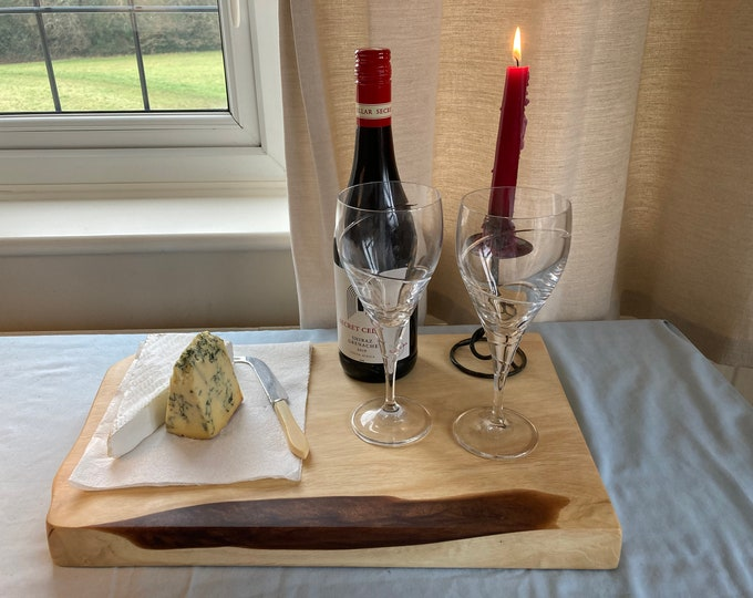 Salvaged Hornbeam and Antique Bronze Resin Wine Board/ Serving Board/ Platter Board/ Cheese Board.