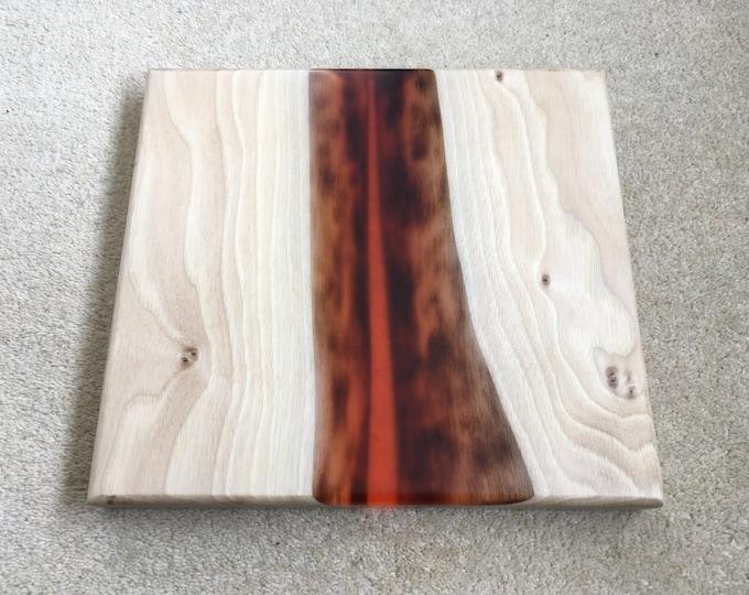Walnut & Red Resin Serving Board/Walnut platter board/walnut cheese board