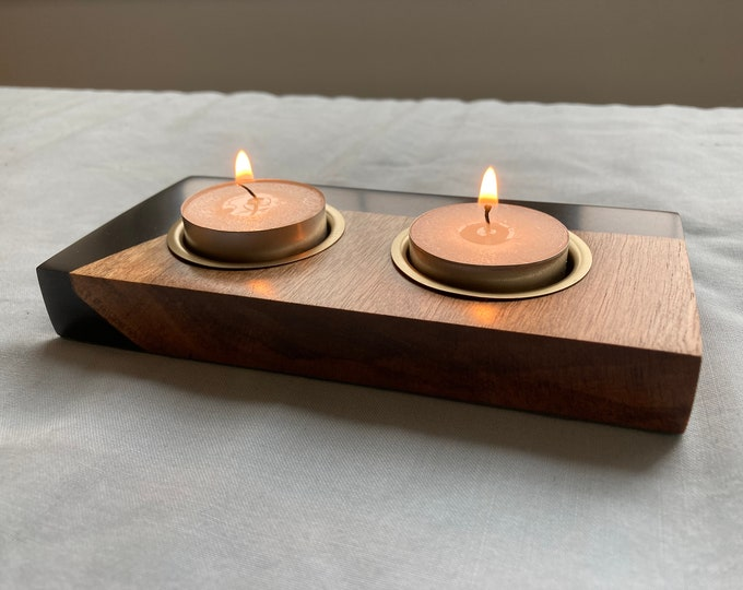 Walnut and Black Resin with Brass Inserts Tea light candle holder