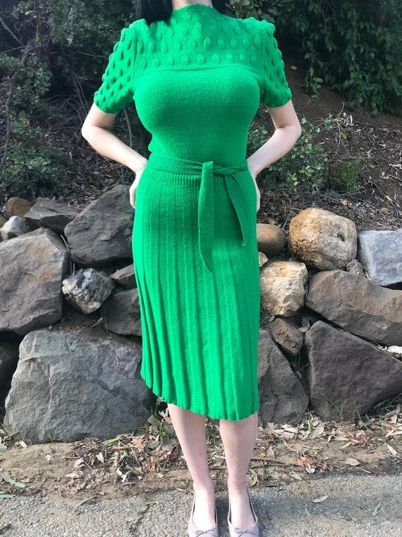 Green vintage knit dress