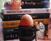 Witches cauldron egg cup with broom spoon