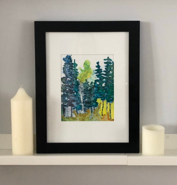 Green Wall Decor Housewarming Gift Juniper Tree Hand Painted Watercolor Fine Art Print Black Line Drawing Nature Inspired Gift
