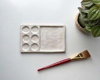 Paint Palette, Artist Palette, 7 pane with circles, Ceramic Stoneware, White