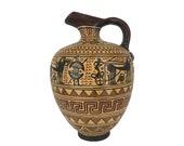 Geometric Ancient Greek Terracotta Ceramic Jar Museum Replica Vase 16cm