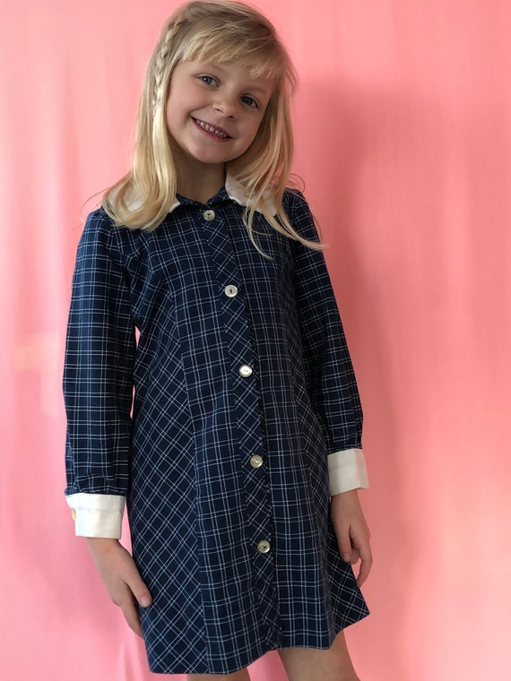 Long sleeve navy plaid shirtdress for girls