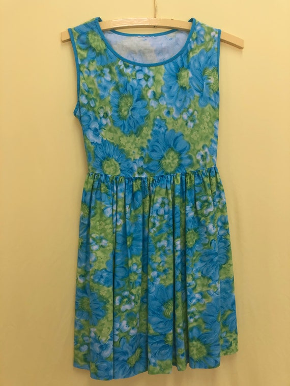Sleeveless green and blue vintage cotton dress