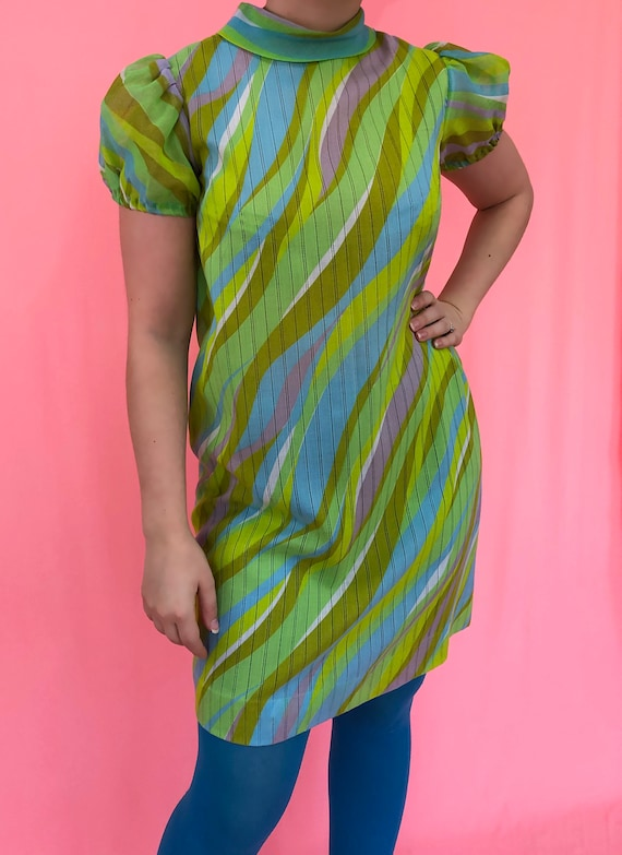 SALE vintage dress 70's Multicolor Shift Dress