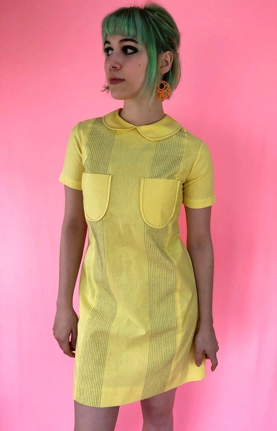 SALE Vintage dress 70's Bright Yellow shift