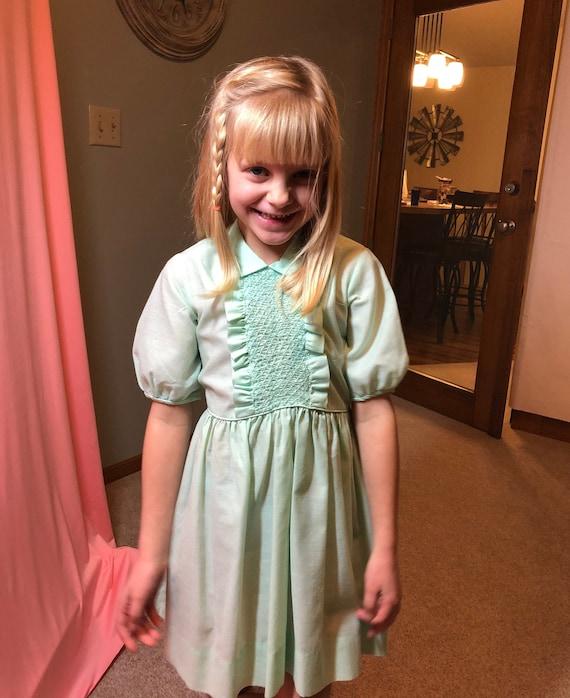 Toddler girls vintage handmade lime green maxi dress 2-4t