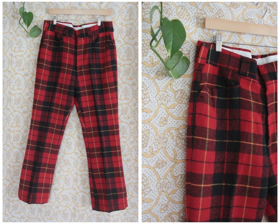 34 - Vintage 1970's Red Plaid Pants