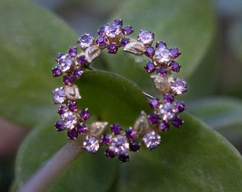 Vintage Amethyst Lavender Quartz Flower Wreath Brooch | 1950s / 1960s Pin