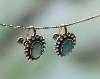 Vintage Zuni Deco Turquoise Sterling Silver Screwback Earrings | c. 1930s - 1940s | Vintage Native American Jewelry