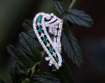 Vintage Emerald Green Rhinestone Brooch | 1950s / 1960s Pin