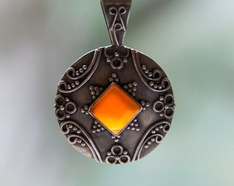 Vintage Sterling Silver Carnelian Amulet | Filigree Pendant