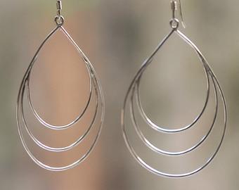 Sterling Silver Teardrop Loop Earrings | Dangle Drop Earrings