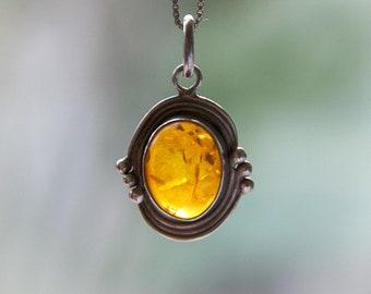 Vintage Amber Sterling Silver Pendant | Time Portal Amulet
