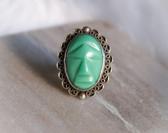 Vintage Sterling Silver Mayan Aztec Green Onyx Tribal Ring | 1940s Warrior Mask