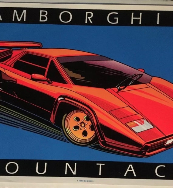 Lamborghini Countach vintage black light poster velvet flocked Car Pin,Up  1985 sports car
