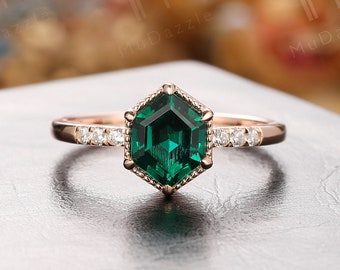 Hexagon halo diamond ring round shaped Alexandrite engagement ring set for women natural emerald wedding band jewelry unique bridal set gift