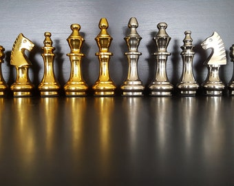 Large Staunton Aluminum Chess Pieces - Chessboard Not Included