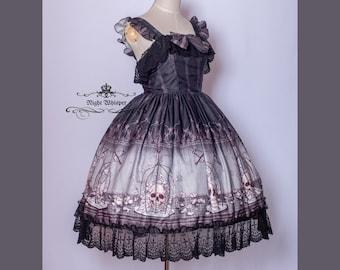 Custom, Plus Size Friendly, Lolita dress, sweet gothic dress, skull in cage