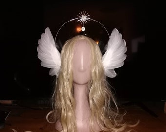 1920, vintage style, feather, Handmade Halo Crown Lolita Rococo Cosplay