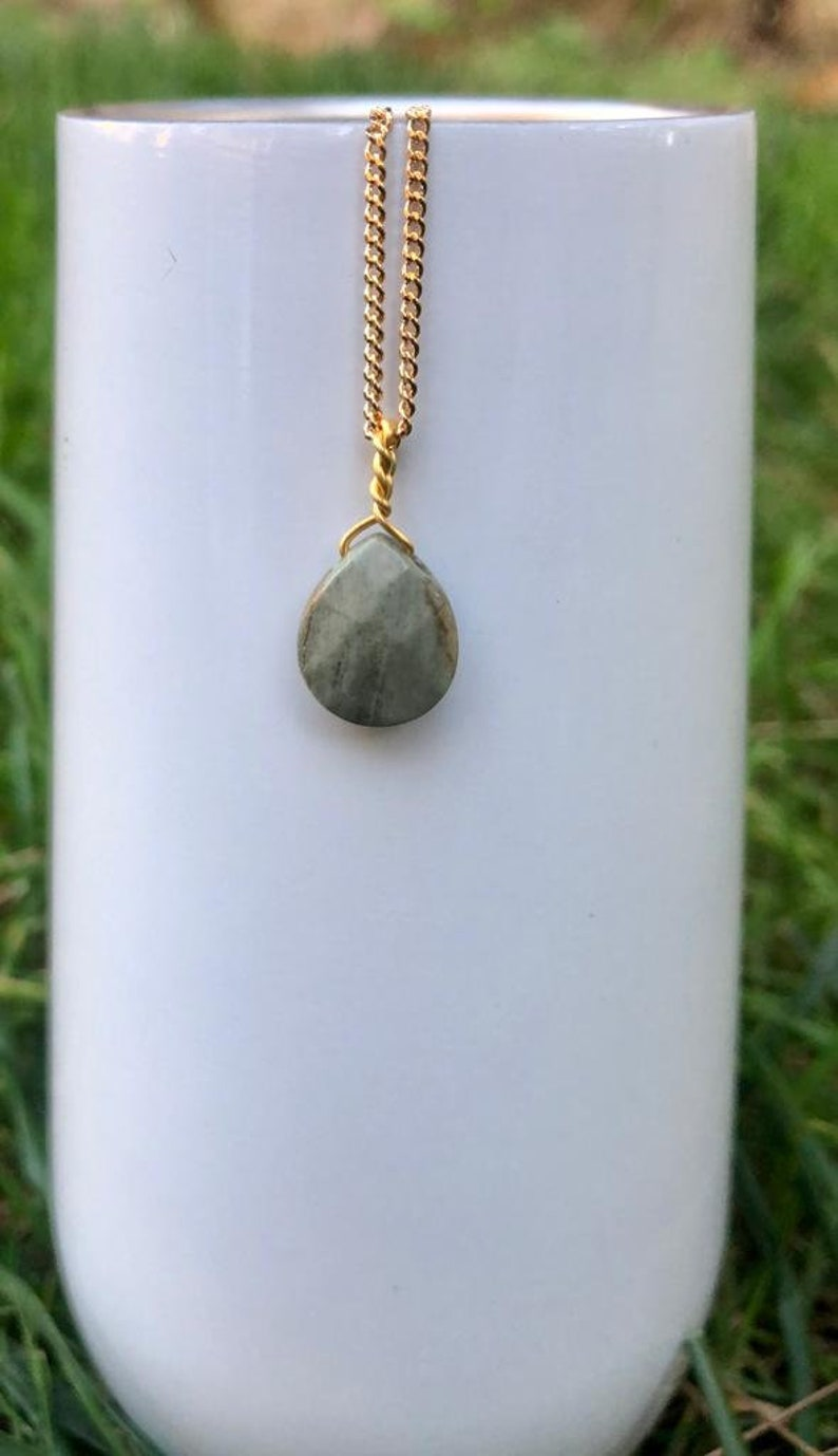 Dainty Gold Plated Marble Stone Pendent Necklace Simple Necklace